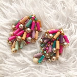 Clip On Wood and Bead Earrings